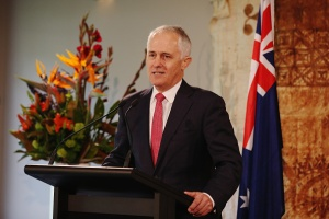 AUCKLAND, NEW ZEALAND - OCTOBER 17:  Australian Prime Minister Malcolm Turnbull answers questions during a press confrence at Government House on October 17, 2015 in Auckland, New Zealand. Turnbull is in New Zealand to discuss bilateral talks with John Key. It is also his first visit to New Zealand as Prime Minister.  (Photo by Hannah Peters/Getty Images)